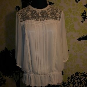 Women's Lace/Sheer 3/4 Sleeve Blouse 12